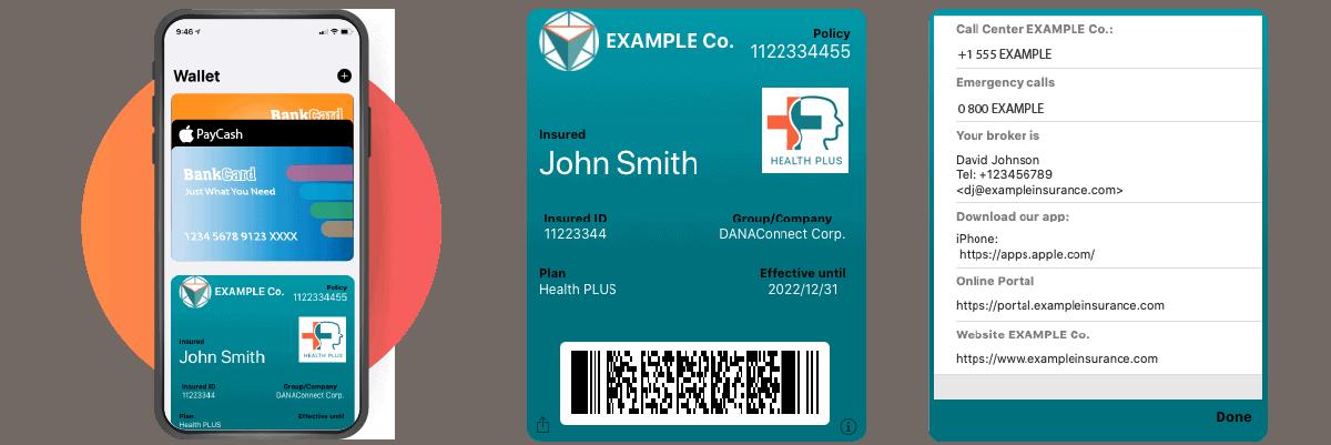 Digital insurance card for ewallet